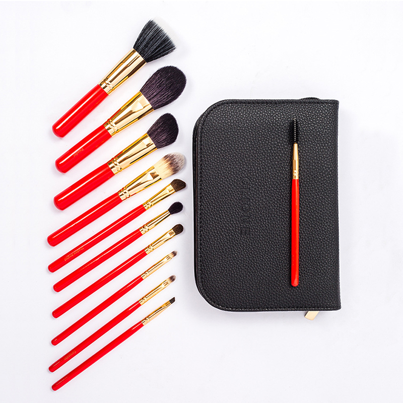BBL 11pcs Red Makeup Brushes Set + Leather Bag Premium Goat Hair Kabuki Powder Blusher Highlighter Lip Eyeshadow Blending BrushBBL 11pcs Red Makeup Brushes Set + Leather Bag Premium Goat Hair Kabuki Powder Blusher Highlighter Lip Eyeshadow Blending Brush