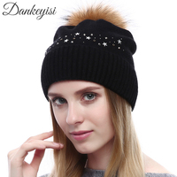 DANKEYISI Winter Knitted Wool Hats Women Pompon Beanies Natural Raccoon Fur Cap Warm Hat Female Caps