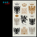 Gold Metallic tatoo Feather Temporary tattoo Flash Waterproof Sleeve Foot Metal Bling Makeup Body paint stickers Wholesale
