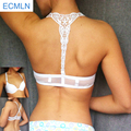 Womens Sexy Front Closure Lace Racer Back Push Up Seamless Bra Racerback Bra