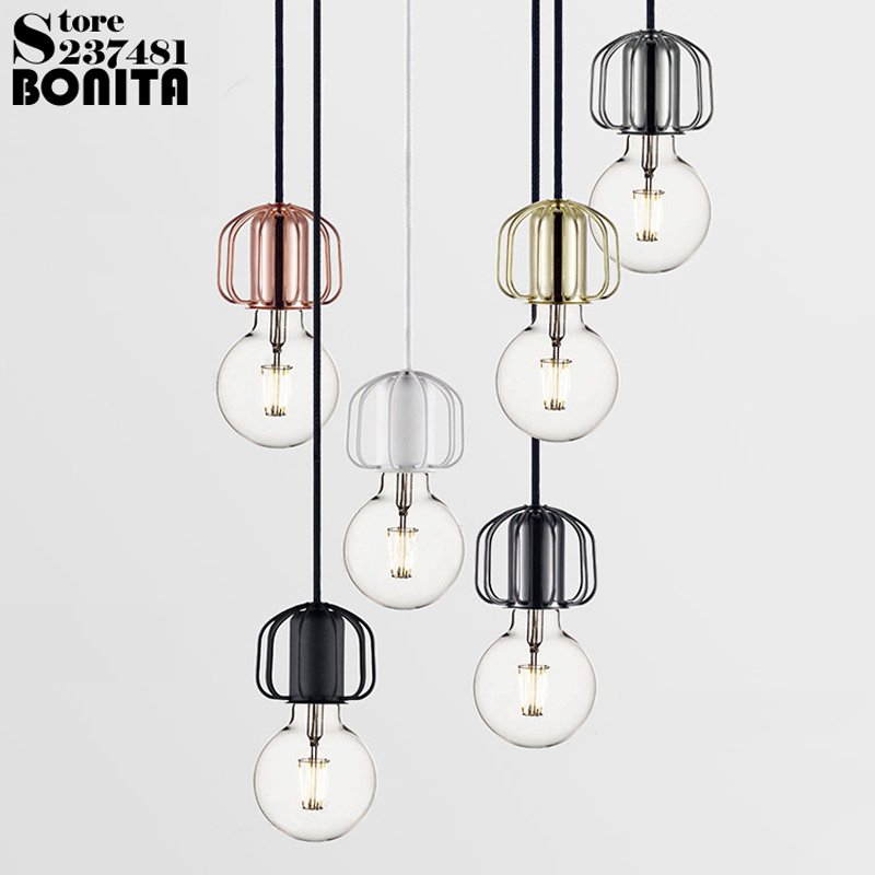 Danish design Modern Small hanging lights bedroom Small iron cage cord pendant lamp Edison Light Bulb droplight loft danish design iv15q702slbk