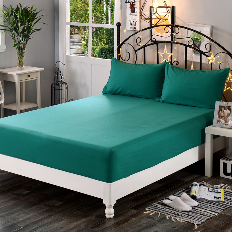 1pcs 100% Polyester Super soft Solid Fitted Sheet Mattress Cover Four Corners With Elastic Band Bed Sheet