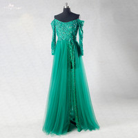RSE742 Sexy Off The Shoulder Long Sleeve Prom Dresses Emerald Green Evening Dresses