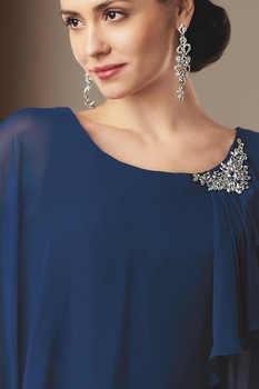 Chiffon Navy Blue Mother of The Bride Dresses Elegant Plus Size Mother Dress Custom Made Vestido Madre Novia Free Shipping 2020