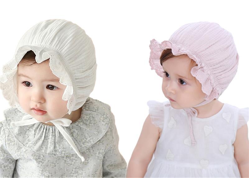 100% Wahr Baby Hut Dekorative Spitze Atmungsaktive Baumwolle Prinzessin Kleinkind Kappe Baby Kappe