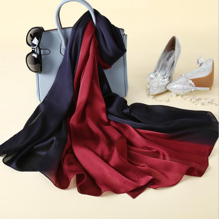Desain baru Merek Mewah Padat sutra Musim Panas Syal Gradien Dip dye - Aksesori pakaian - Foto 6