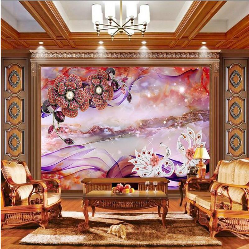 custom home improvement 3d wall paper rolls photo wallpaper for walls 3d murals background Marble Swan Diamond Flower