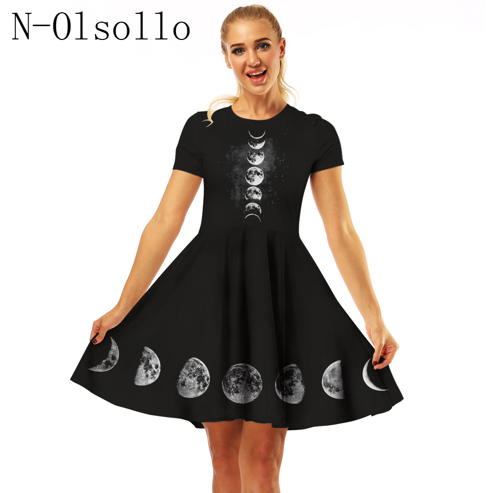Us 1359 15 Offn Olsollo Hot Sale Women Clothes 2018 Digital Moonlight Change Short Sleeve Dresses Pleated Umbrella Dress Black Vintage Dresses In