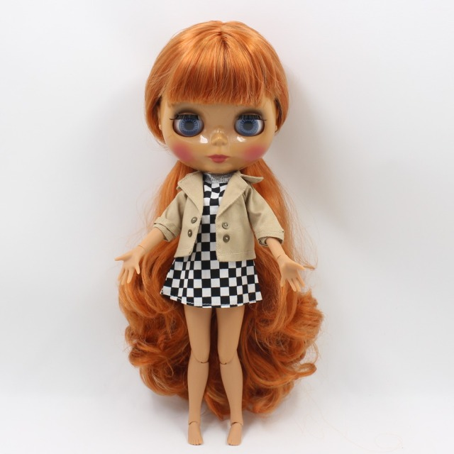 ICY Neo Blythe Doll Orange Hair Dark Skin Jointed Body 30cm