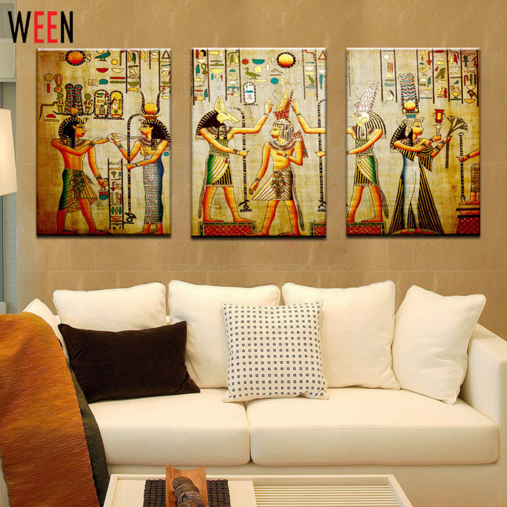 Canvas painting triple abstract picture egyptian mural room modern canvas painting triple abstract picture egyptian mural room modern decorative painting large art wall art print in painting calligraphy from home garden amipublicfo Choice Image