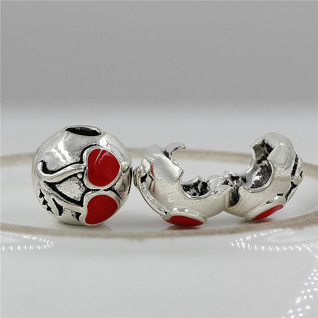 Convient Pandora Charms Bracelet Sécurité Perles Clip Bouchon cerise  Européenne Argent Plaqué Charme Bijoux DIY Fabrication