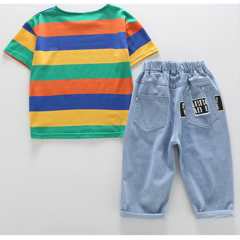 kids clothes Girls summer suit 2019 new fashion printing cartoon T shirt cartoon denim shorts two piece suit children sets in Clothing Sets from Mother Kids