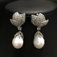 14 15MM Baroque Natural Fresh Water Pearl Drop Earring 925 Sterling Silver With Cubic Zircon Fashion