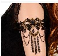 Kpop مجوهرات خمر القوطية الأسود الرباط العلوي ذراع مرنة شرابة سوار بالجملة/أساور/pulseira/brazalete/bilezik/bracciale