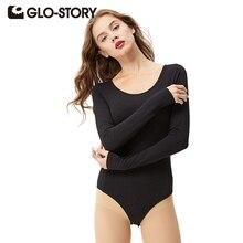 GLO-STORY Для женщин узкие Корректирующие боди для женщин Комбинезоны 2017 Chic Sexy Твердые длинным рукавом черный Боди Комбинезоны для малышек фитнес дна рубашки 3025