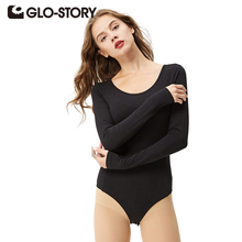 GLO-STORY Brand Women Skinny Bodysuits Jumpsuits 2016 Chic Sexy Long Sleeve Rompers WCX-3025