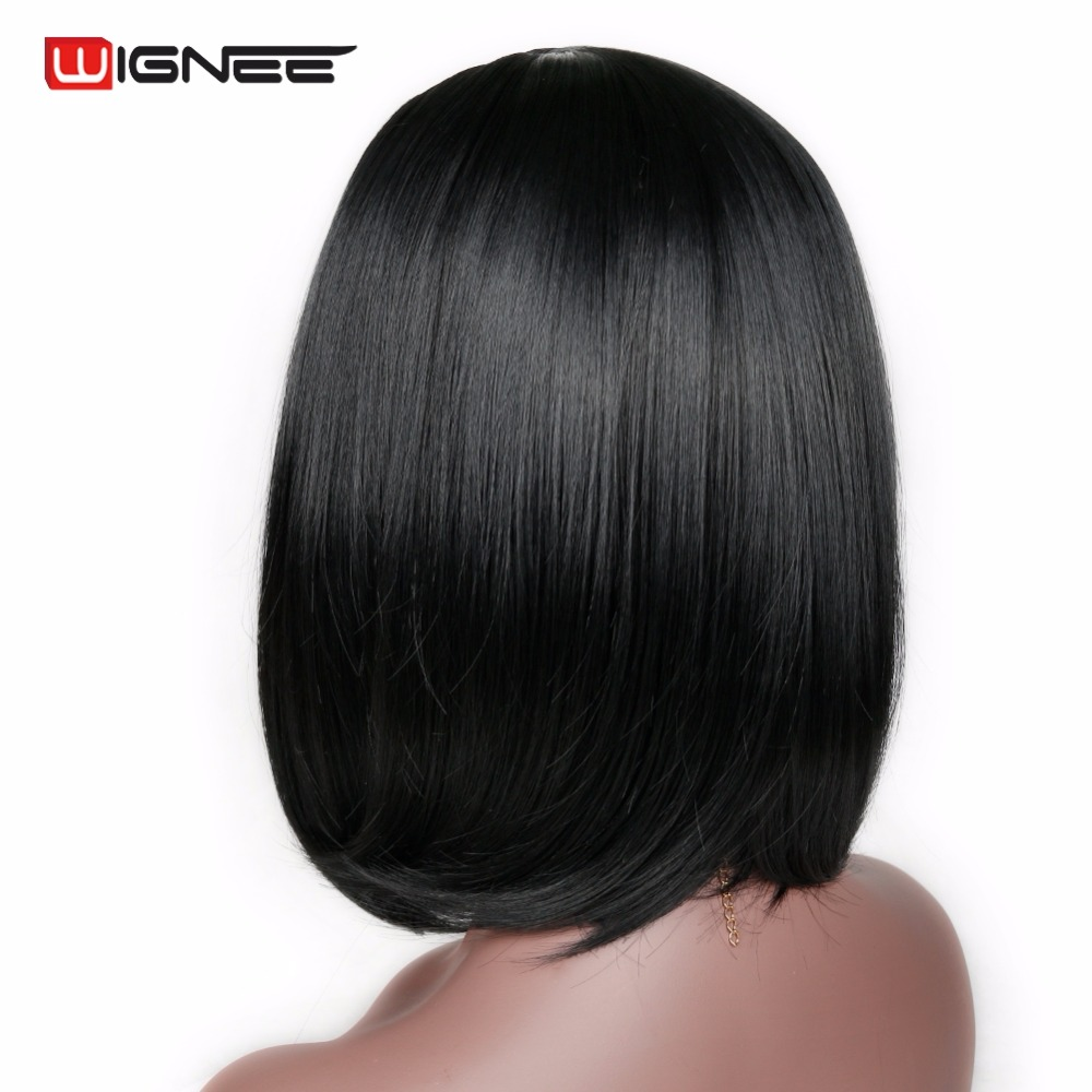 Wignee Natural Black Bob Synthetic Hair Natural Temperature  Women Wigs Glueless Cosplay Hair Wigs For Africa Americans Wigs