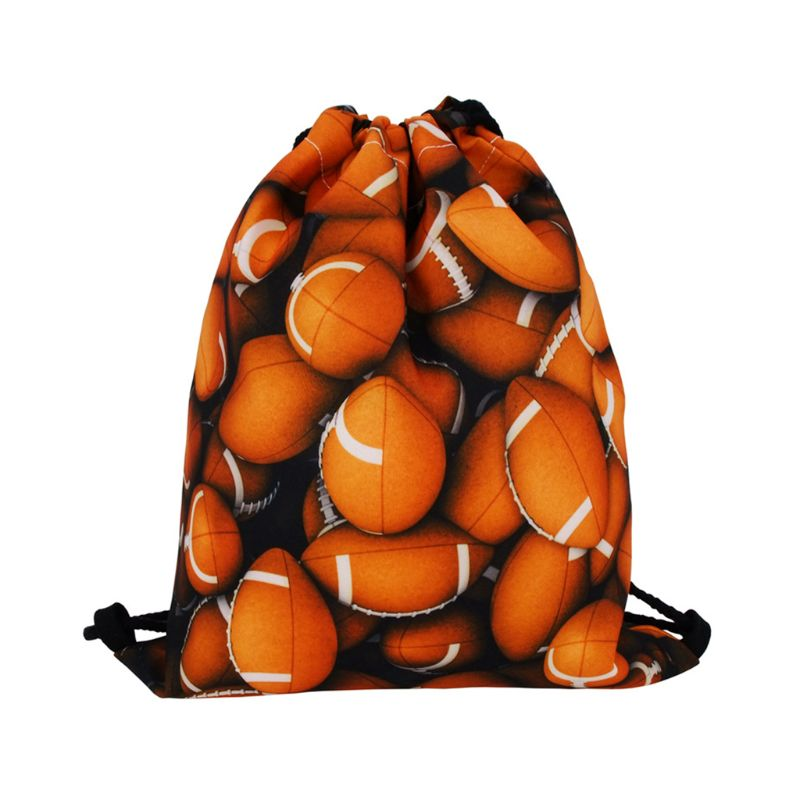 Rugby Storage Bag Polyester Drawstring Travel Outdoor Sport Gym Backpack
