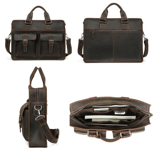 Joyir 2020 dos homens do vintage vaca maleta de couro genuíno saco do mensageiro de couro cavalo louco masculino bolsa para portátil de negócios 1