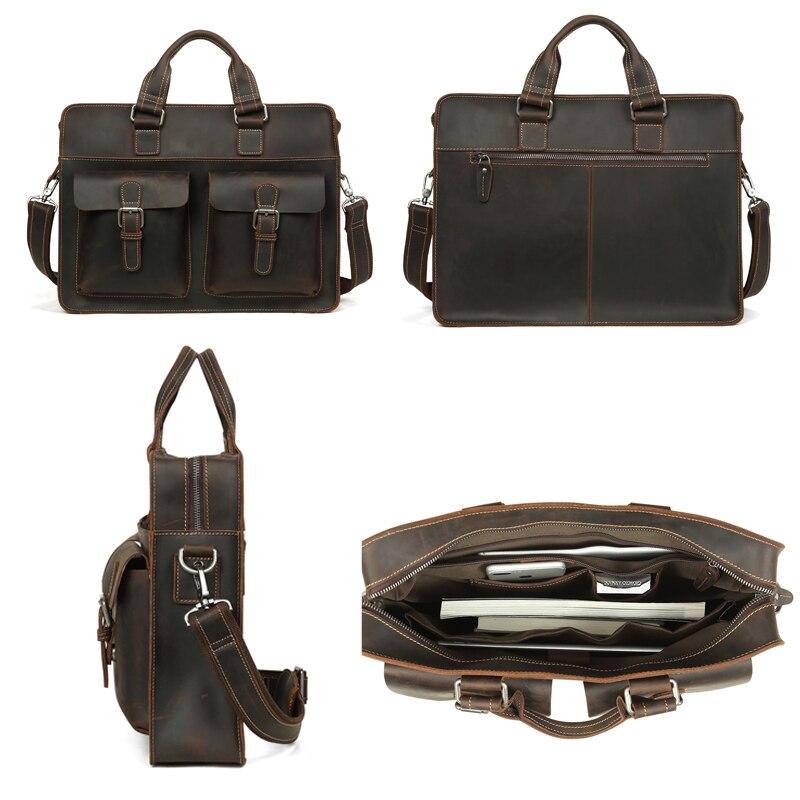 JOYIR 2019, Винтажный Мужской портфель из натуральной коровьей кожи, Crazy Horse, кожаная сумка через плечо, мужская сумка для ноутбука, мужская деловая дорожная сумка - 2
