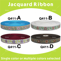 DIY polyester woven 7/8 22mm Jacquard Ribbon with National Embroidery Ribbon trim Garment Bags Shoes Q411