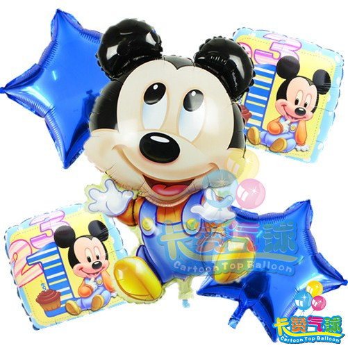 5pcslot Minnie Mickey Mouse Foil Balloons Kids 1 Year
