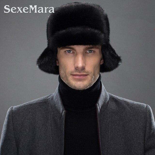 Winter Men Rick Cap Genuine Mink Real Fur Hats for Men Warm ear protector High Quality men fur hat