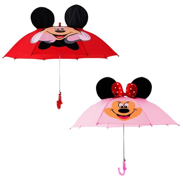 a6c92c4368900 Cartoon Ear Long Handle Umbrella Children Kid Girl Boy Baby Paraguas Animals  Minnie Windproof Rain Umbrella Easy Opening Folding