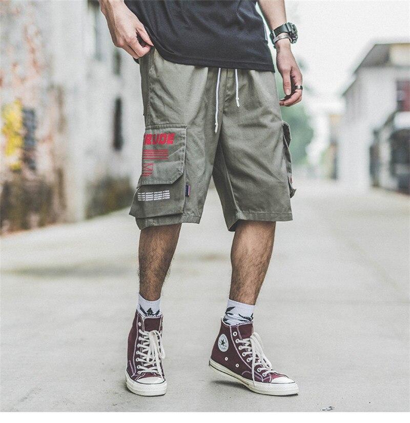 Japanese Harajuku Big Pockets Mens Cargo Shorts for Summer Urban Boys Streetwear Drawstring Hip Hop Short Pants Plus Size M-XXL 8