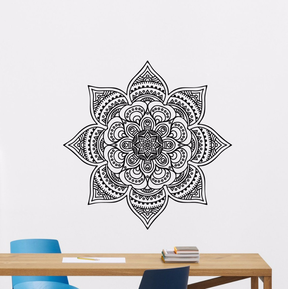 Wall Decal Removable Mandala Sticker Lotus Flower Ornament Yoga Mural Namaste Wallpaper Home Art Decor AY0221