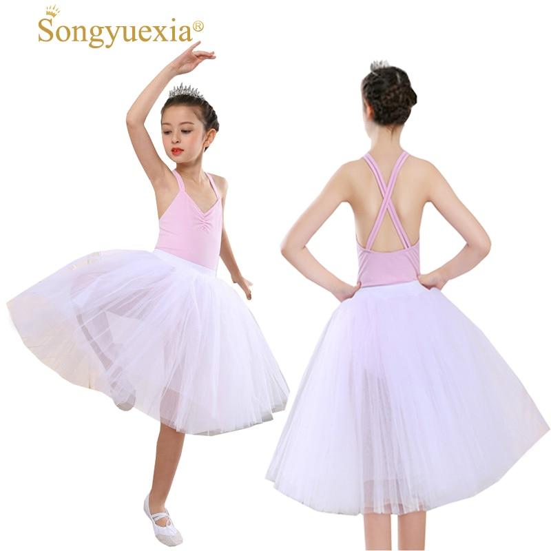 Girls Pro Long Sleeve Ballet Tutu Dance Skirt Pink White Lace Dress Platter