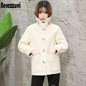 Image 3 - Nerazzurri womens sheepskin coats winter warm plus size plush faux fur coat regular beige lamb wool teddy bear jacket woman 5xl