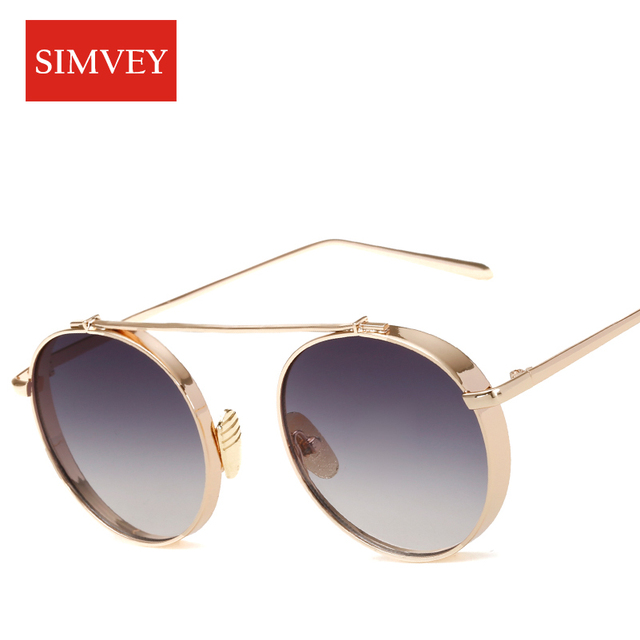 6aa91ee0f1 Simvey 2017 Trendy Fashion Women Round Sunglasses Brand Designer Metal Frame  Vintage Circle Sun Glasses Shades Luxury Sunglasses