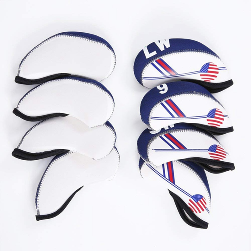Image 3 - 10PCS/set Duplex Printing Waterproof Golf Club Head Iron Headcovers Blue White Head cover Golf Club Accessories-in Club Heads from Sports & Entertainment