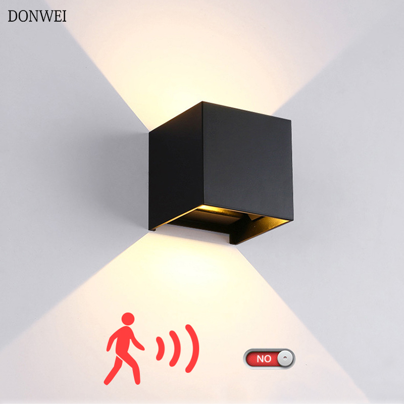 6W 12W FÜHRTE Wand Licht Im Freien Wasserdichte IP65 Radar Motion Sensor Veranda Wand Lampe Hause Leuchte Indoor Dekoration beleuchtung