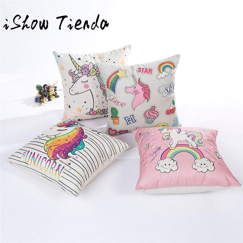 ISHOWTIENDA Flax Unicorn Printing Pillow Sofa Waist Throw Cushion Cover Home Decor Cushion Cover Case 45*45CM 0106