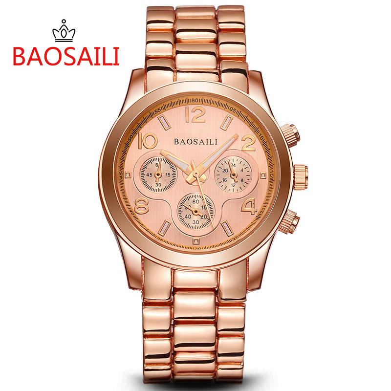 Prix pour BSL914 BAOSAILI Nouvelle Mode Femmes Marque Montres À Quartz En Acier Inoxydable Montre De Luxe Montre-Bracelet de Dames Montre relogio masculino
