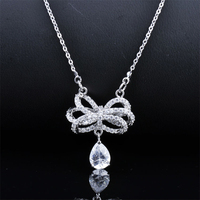 Free Shipping Wholesale Bow Shaped Luxury Jewelry Fashion Necklaces For Women 2014 GLD0673