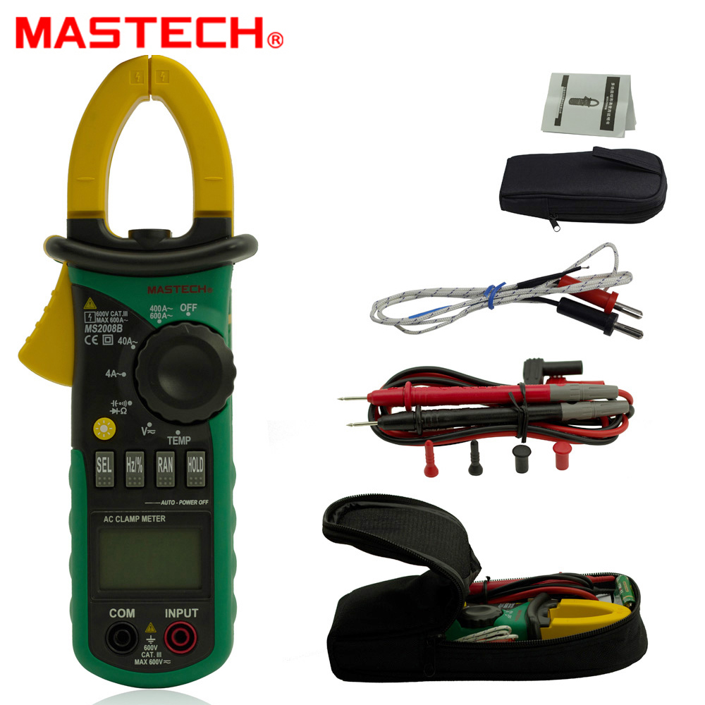 MASTECH MS2008B 3999 counts Digital Multimeter Amper Clamp Meter Current Clamp AC/DC Voltage Capacitor Resistance Tester mastech ms2138 ac dc digital clamp meter 1000a multimeter electrical current 4000 counts voltage tester