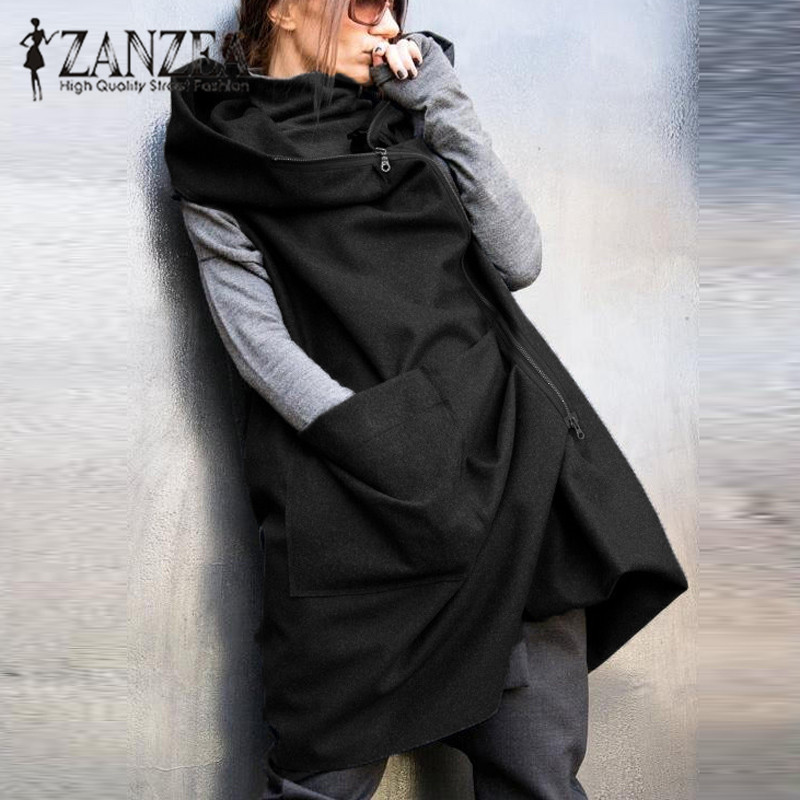 ZANZEA Fashion Women Autumn Sleeveless Hooded Waistcoat Vest Coat Solid Zip Up Baggy Casual Jacket Loose Outwear Plus Size