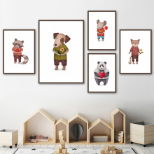 7-Space  Modern Cartoon Animals Love Quote Canvas Painting For Kids Room Watercolor Art Posters And Prints Decoration