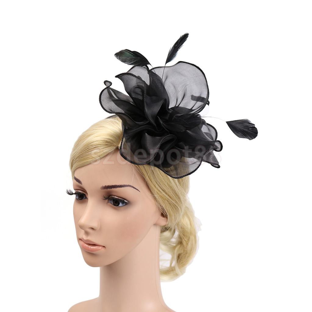 Lady Flower Fascinator Hat 1920s Gatsby Bridal Headband Cocktail Party  Black-in Women s Hair Accessories from Apparel Accessories on  Aliexpress.com ... 404a523f798