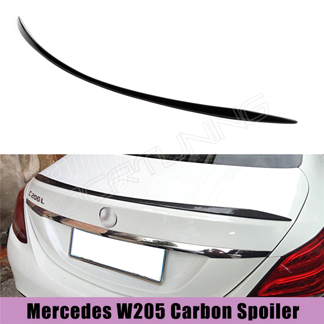 For Mercedes W205 Carbon Spoiler 4-Door Sedan C63 C180 C200 C250 C260 Carbon Fiber Rear Trunk Spoiler Wings 2014 2015 2016 - UP w204 c180 c200 c260 c300 carbon fiber car rear trunk lip spoiler wing for mercedes benz w204 c63 4 door 2008 2013 amg style
