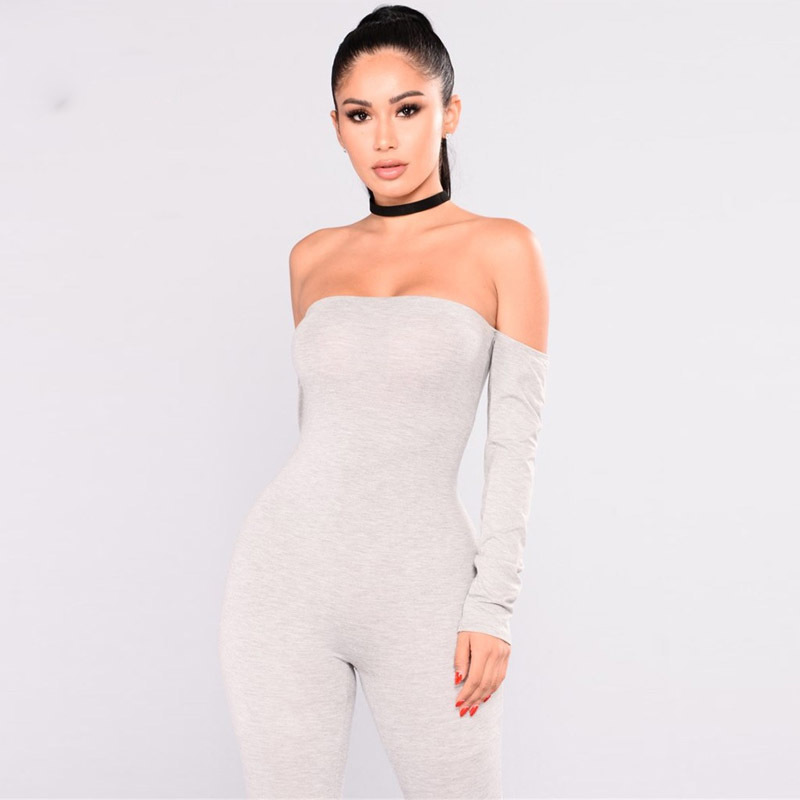 b78857994a29 NATTEMAID Sexy Off Shoulder Jumpsuits Women Long Sleeve stretchy solid  Rompers Jumpsuit Female Elastic women Overalls-in Jumpsuits from Women s  Clothing on ...