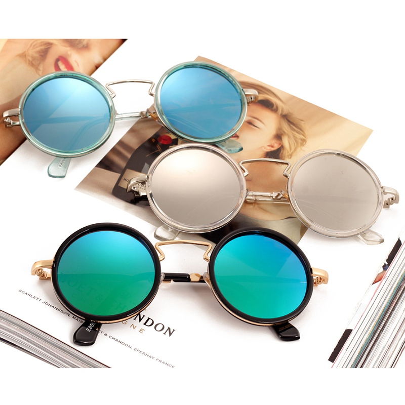 Round Shades Sunglasses Steam Punk Metal Women For Hip-Hop Clear Male