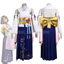 Final Fantasy X / X-2 Yuna Japanese Kimono Outfit Dress Cosplay Costume