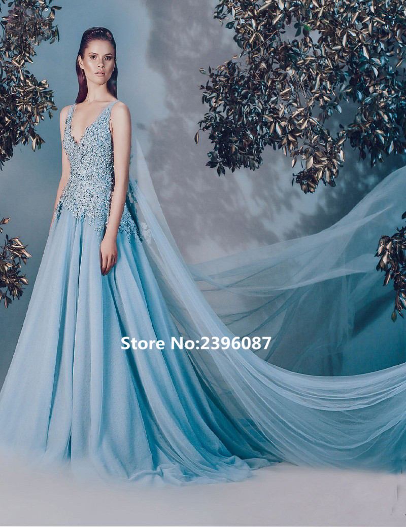 Fashion Luxury Blue Tulle With Cape Appliques Beaded A-Line   Evening     dress   Long 2017 Prom Gowns Formal   Dress   Vestido de noche