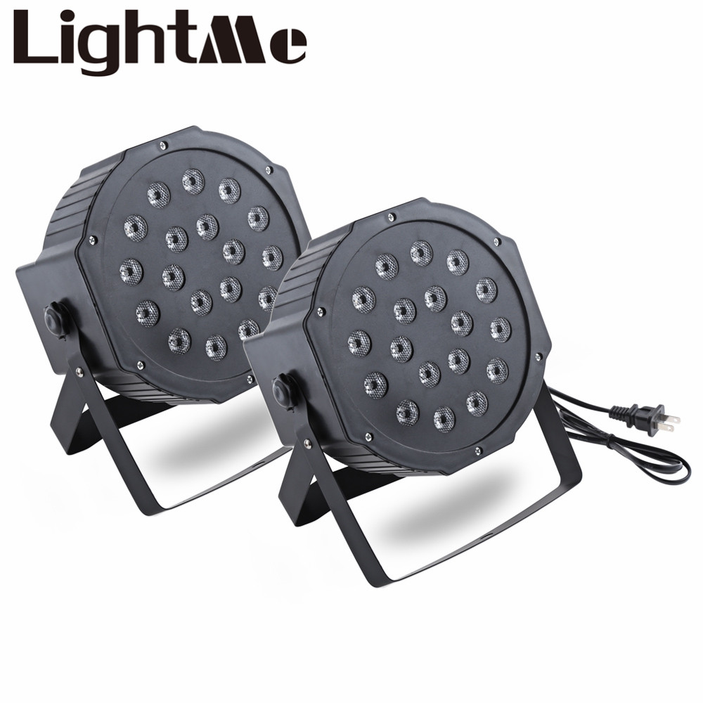 2pcs New Professional LED Stage Lights RGB PAR LED DMX Stage Lighting Effect DMX512 Master-Slave Led Flat for DJ Disco Party KTV ac100 240v 18 1w led stage light high power rgb par light dmx master slave led flat dj equipments luzes para festa disco lamp