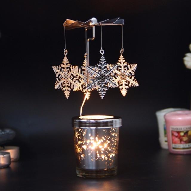 Tealight Carousel Rotary Tea Light Holder Christmas Gift Charms Spinning Candle