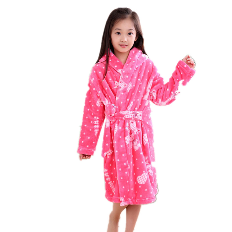 2017 New Fall Winter Flannel Childrens Long-sleeved Plus Size Robes Coral Thick Pajamas Boys and Girls Children Bathrobes B167 ...